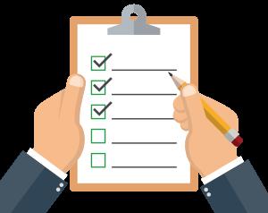 Ένας δοκιμαστικός αγοραστής σημειώνει απαιτήσεις που έχουν εκπληρωθεί.