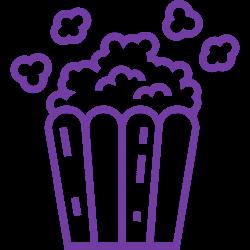 Εικονίδιο μιας τσάντας ποπ κορν, που αντιπροσωπεύει τον κινηματογράφο και άλλες εγκαταστάσεις αναψυχής
