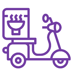 Icon of scooter with food delivery box on it