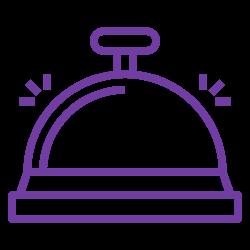 Icon einer runden, klingelnden Hotelklingel